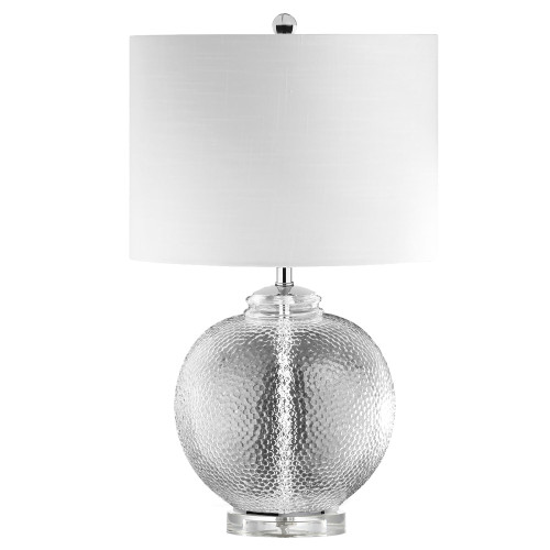 Dainolite Lighting  TYR-235T-CLR 1 Light Incandescent Glass Table Lamp with White Shade