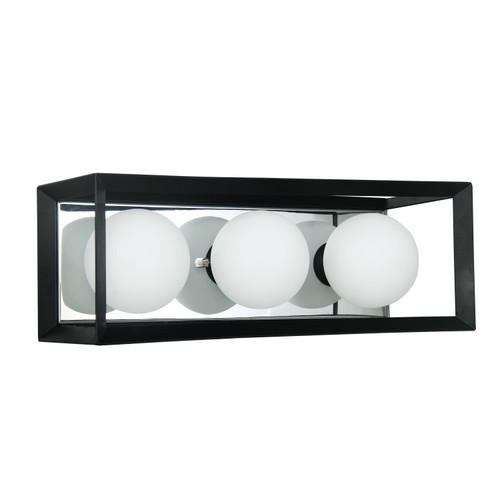 Dainolite Lighting  V166-3W-BK-PC 3 Light Halogen Vanity Black and Polished Chrome Finish