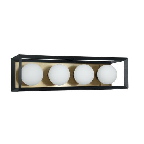 Dainolite Lighting  V166-4W-BK-AGB 4 Light Halogen Vanity Black and Aged Brass Finish