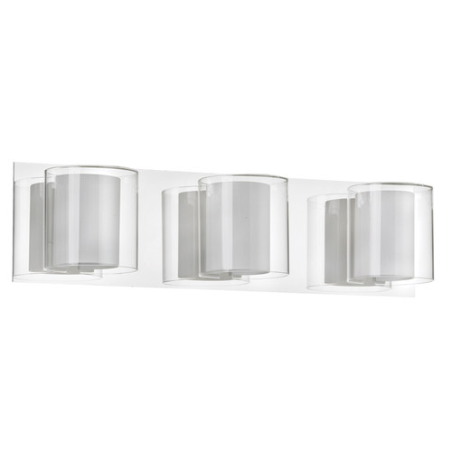 Dainolite Lighting  V311-3W-PC 3 Light Vanity, Polished Chrome, Clear / Frosted White Glass