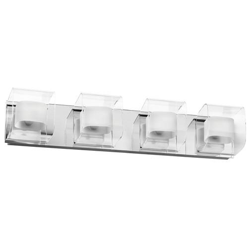 Dainolite Lighting  V6015-4W-PC 4 Light Vanity, Polished Chrome, Clear / Frosted White Glass
