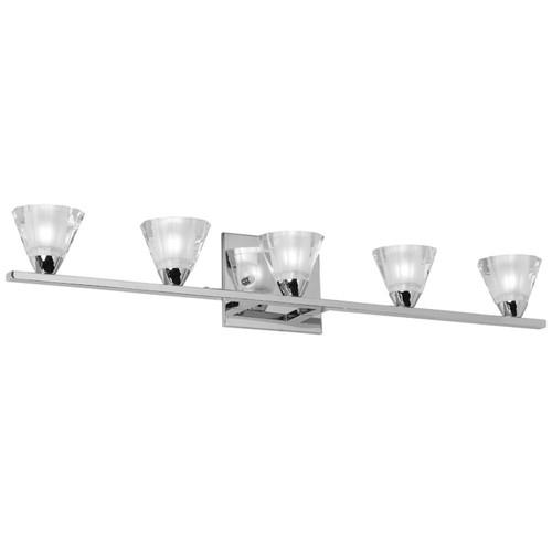 Dainolite Lighting  V689-5W-PC 5 Light Vanity, Polished Chrome, Optical Crystal