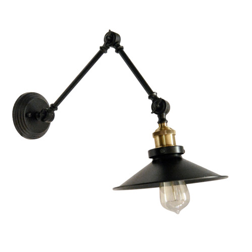 Dainolite Lighting  V928-1W-BK 1 Light Incandescent Adjustable Wall Lamp, Black Finish