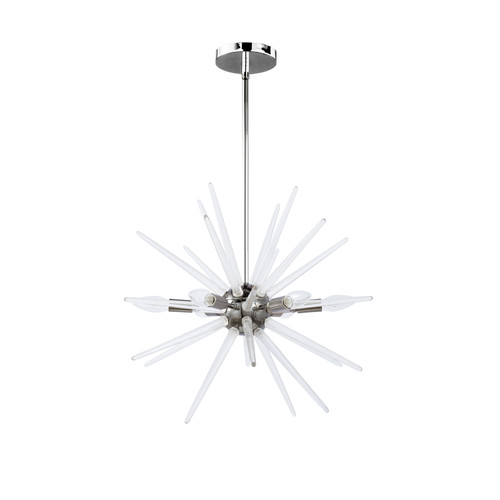 Dainolite Lighting  VEL-206C-PC 6 Light Incandescent Pendant, Polished Chrome Finish with Clear Acrylic Spikes