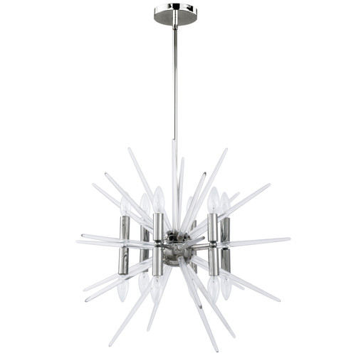Dainolite Lighting  VEL-2412C-PC 12 Light Incandescent Pendant, Polished Chrome Finish with Clear Acrylic Spikes