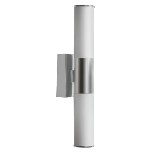 Dainolite Lighting  VLD-812W-SC 2 Light LED Wall Sconce, Satin Chrome, White Frosted Glass