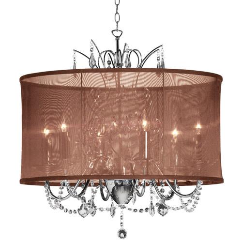 Dainolite Lighting  VNA-20-5-110 5 Light  Polished Chrome Maple Droplets Crystal Chandelier with Chocolate Brown Organza Shade