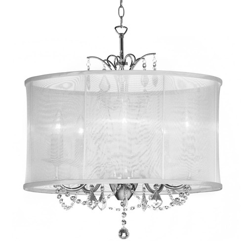 Dainolite Lighting  VNA-20-5-119 5 Light  Polished Chrome Maple Droplets Crystal Chandelier with White Organza Shade