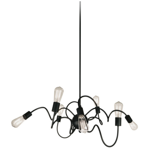 Dainolite Lighting  WAI-4024P-MB 8 Light Oval Pendant, Matte Black Finish,  w/ Vintage Bulbs