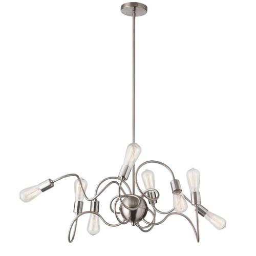 Dainolite Lighting  WAI-4024P-SC 8 Light Oval Pendant, Satin Chrome Finish,  w/ Vintage Bulbs
