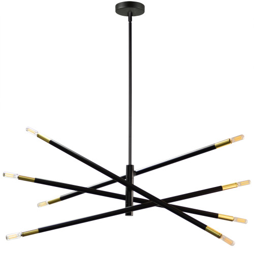 Dainolite Lighting  WAN-408P-MB-AGB 8 Light Incandescent Pendant, Matte Black & Aged Brass