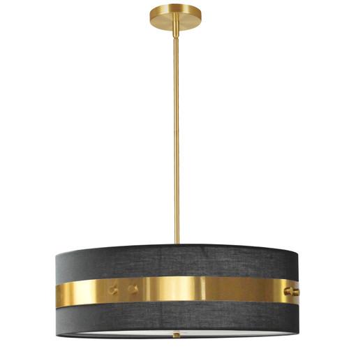 Dainolite Lighting  WIL-224P-AGB-BK 4 Light Incandescent Pendant Aged Brass Finish with Black Shade