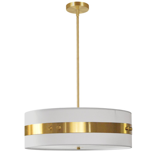 Dainolite Lighting  WIL-224P-AGB-WH 4 Light Incandescent Pendant Aged Brass Finish with White Shade