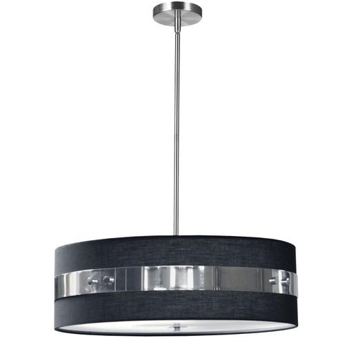 Dainolite Lighting  WIL-224P-PC-BK 4 Light Incandescent Pendant Polished Chrome Finish with Black Shade