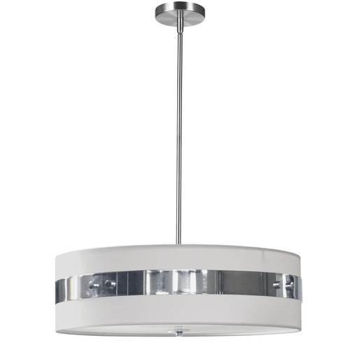 Dainolite Lighting  WIL-224P-PC-WH 4 Light Incandescent Pendant Polished Chrome Finish with White Shade