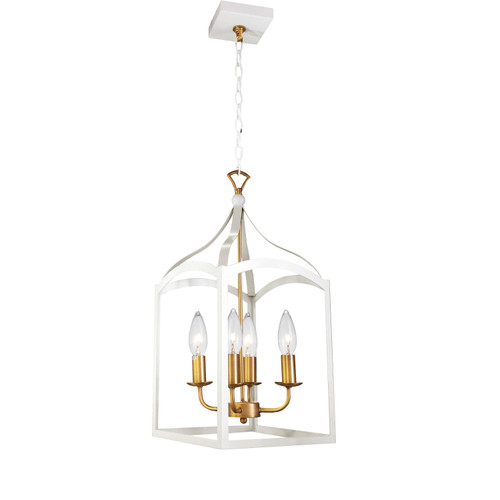 Dainolite Lighting  WIN-214C-WH 4 Light Chandelier, White Finish