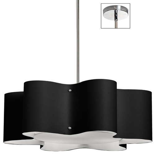 Dainolite Lighting  ZUL-243-PC-BK 3 Light Zulu Pendant with Black Shade,Polished Chrome Finish