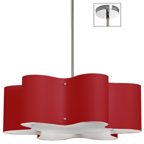 Dainolite Lighting  ZUL-243-PC-RD 3 Light Zulu Pendant with Red Shade,Polished Chrome Finish