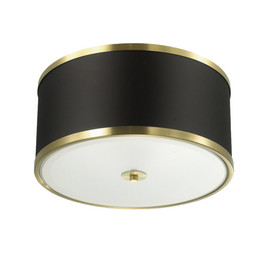 Dainolite Lighting  ZUR-153FH-AGB-BK 3 Light Incandescent Flush Mount, Aged Brass Finish with Black Shade