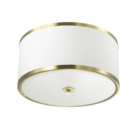 Dainolite Lighting  ZUR-153FH-AGB-WH 3 Light Incandescent Flush Mount, Aged Brass Finish with White Shade