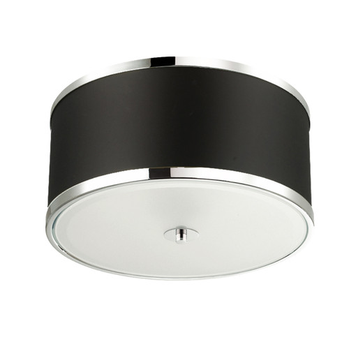 Dainolite Lighting  ZUR-153FH-PC-BK 3 Light Incandescent Flush Mount, Polished Chrome Finish with Black Shade
