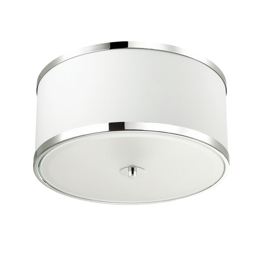 Dainolite Lighting  ZUR-153FH-PC-WH 3 Light Incandescent Flush Mount, Polished Chrome Finish with White Shade