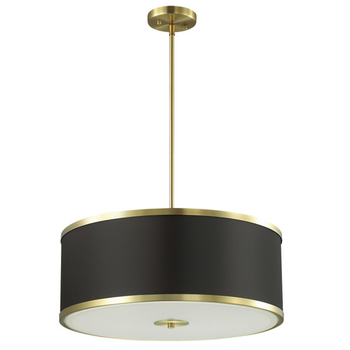 Dainolite Lighting  ZUR-402P-AGB-BK 4 Light Incandescent Pendant, Aged Brass Finish with Black Shade