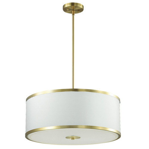 Dainolite Lighting  ZUR-402P-AGB-WH 4 Light Incandescent Pendant, Aged Brass Finish with White Shade