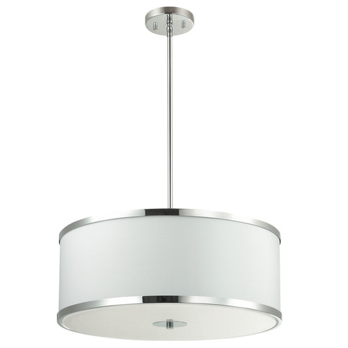Dainolite Lighting  ZUR-402P-PC-WH 4 Light Incandescent Pendant Polished Chrome Finish with White Shade