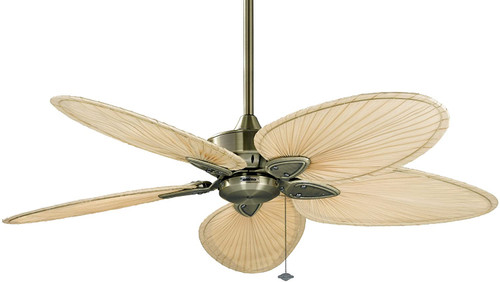 Fanimation FP7500AB Windpointe - 52 inch - Antique Brass with Natural Narrow Oval Blades. Set of five blades included