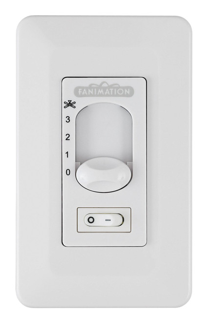 Fanimation CW1SWWH Three Speed Wall Control Non Reversing - Fan Speed and Light - On/Off Toggle - White At CLW Lighting!