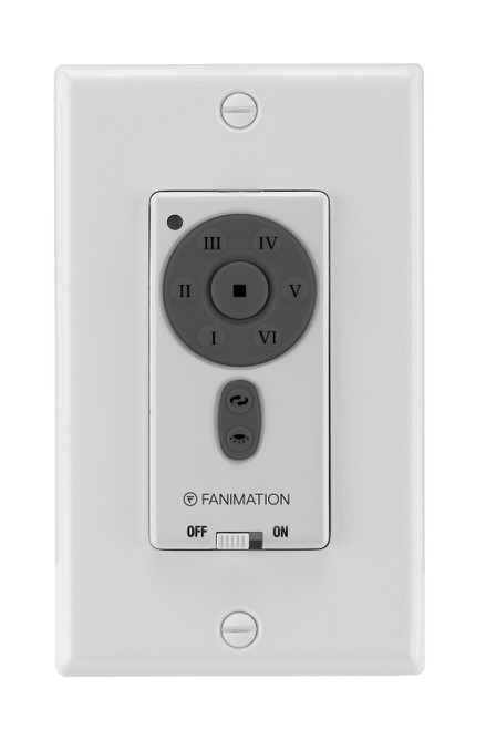 Fanimation TW40WH Six Speed DC Motor Wall Control Reversing - Fan Speed and Light - White At CLW Lighting!