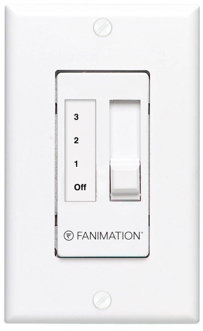 Fanimation CW7WH Three Speed Wall Control For Up To Five Fans Non-Reversing - Fan Speed and Light - White At CLW Lighting!