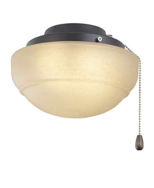 Fanimation LKLP111AOB Low Profile Light Kit with Rounded Linen Glass in Oil-Rubbed Bronze (E11 Minican Bulbs)