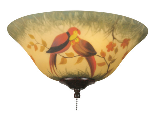 "Fanimation G439 13"" Glass Bowl in Hand-Painted Parrot"