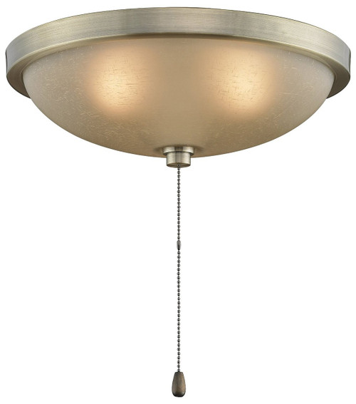 "Fanimation LK124AAB 11"" Light Kit in Antique Brass with Amber Frosted Glass"