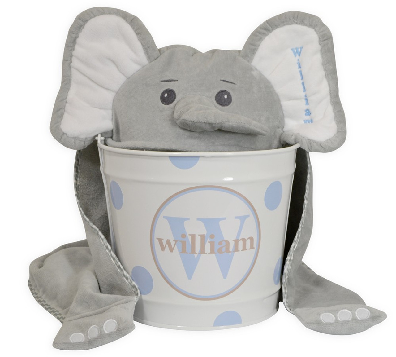 Personalized Elephant Towel And Bucket Gift Set For Baby
