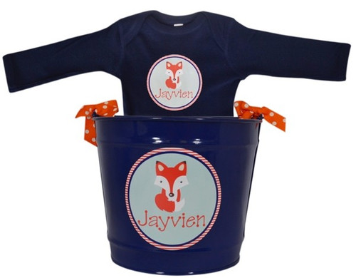 PERSONALIZED BABY FOX BUCKET AND ONESIE GIFT SET