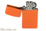 Zippo Slim Orange Matte Lighter Open