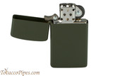 Zippo Slim Green Matte Lighter Open