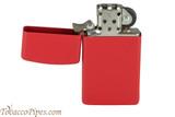 Zippo Slim Red Matte Lighter Open