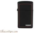 Zippo Slim Black and Red Zippo Logo Lighter
