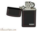 Zippo Slim Black and Red Zippo Logo Lighter Open