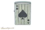 Zippo Luck Wood Grain Ace Of Spades Lighter