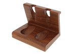 Wooden 2-Pipe Solid Tobacco Pipe Stand Angle