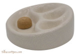 Ceramic 3 Pipe Ashtray with Knocker - White Side