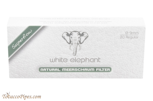 White Elephant 9 mm Meerschaum Filters - 20 Pack