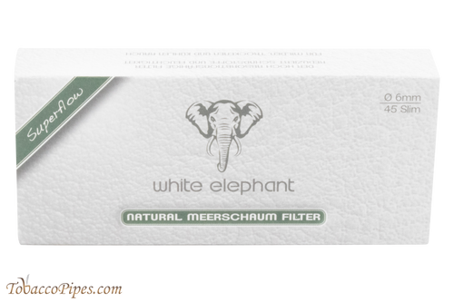 White Elephant 6 mm Meerschaum Filters 45 Pack Front