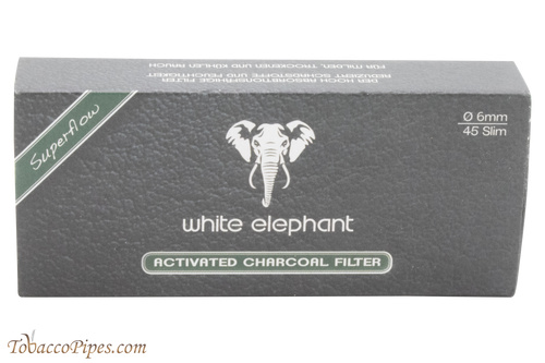 White Elephant 6 mm Charcoal Filters 45 Pack Front