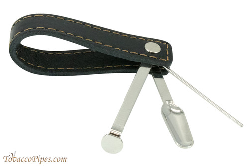 Leather One Pipe Stand With Pipe Tool Black Open